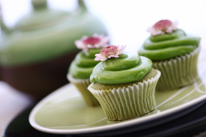Green Tea Cupcakes & Teapot