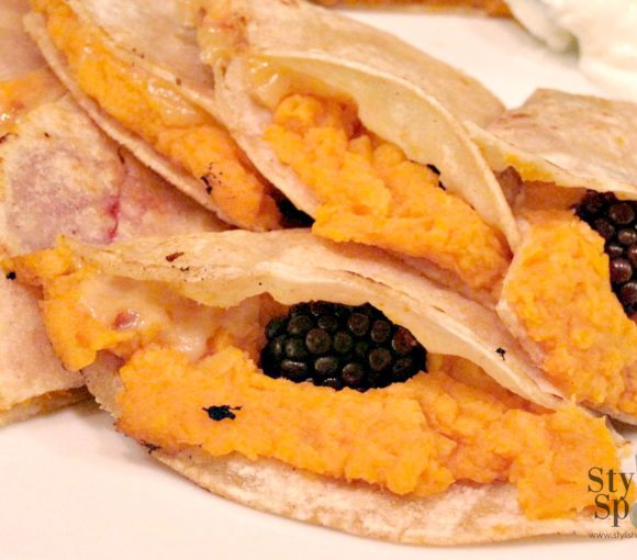 Sweet Potato Blackberry Quesadillas | www.StylishSpoon.com