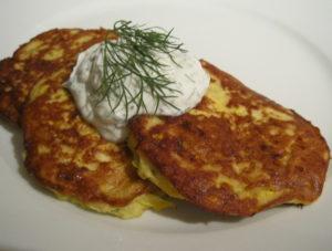 Recipe :: Zucchini Pancakes with Yogurt Dill Sauce ...