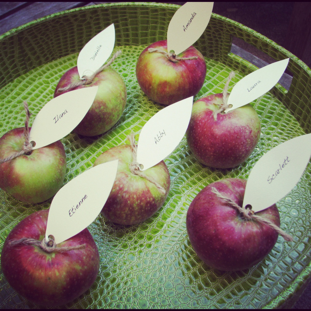 Diy apple place cards fall party ideas stylish spoon for Diy thanksgiving table place cards