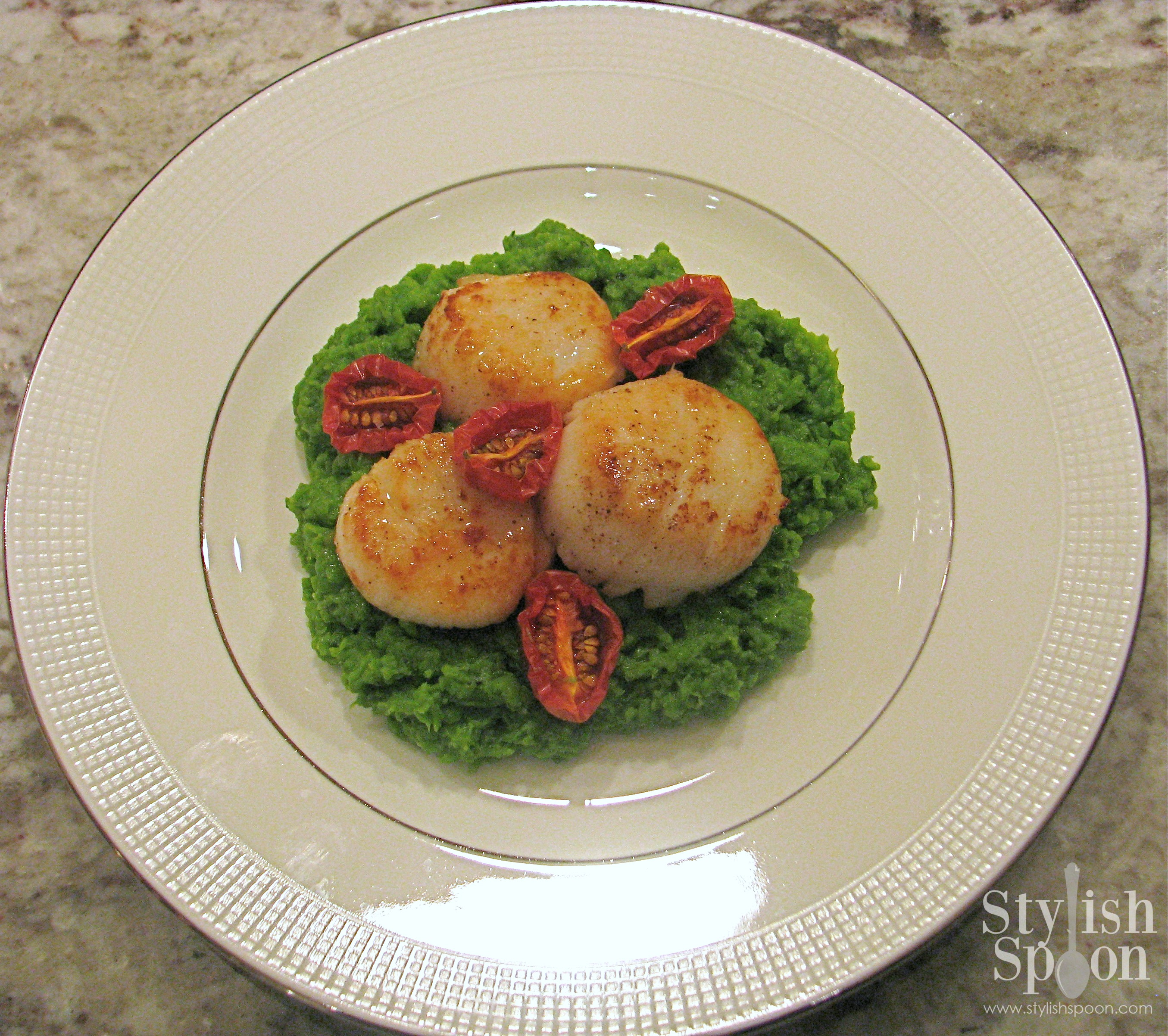 Seared Scallops with Basil Pea Puree