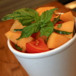 tomato & cantaloupe salad basil simple summer recipe picnic crop-share farmers market gluten-free healthy