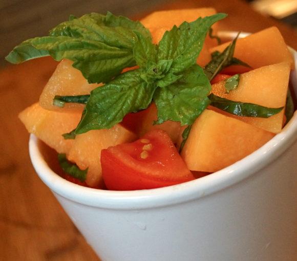 tomato & cantaloupe salad basil simple summer recipe picnic crop-share farmers market gluten-free healthy