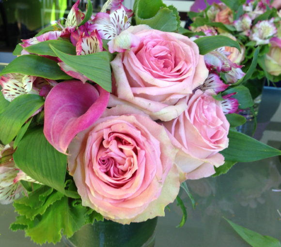 Pink roses, calla lilies and alstroemeria