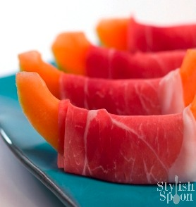 Prosciutto-wrapped Cantaloupe | www.StylishSpoon.com