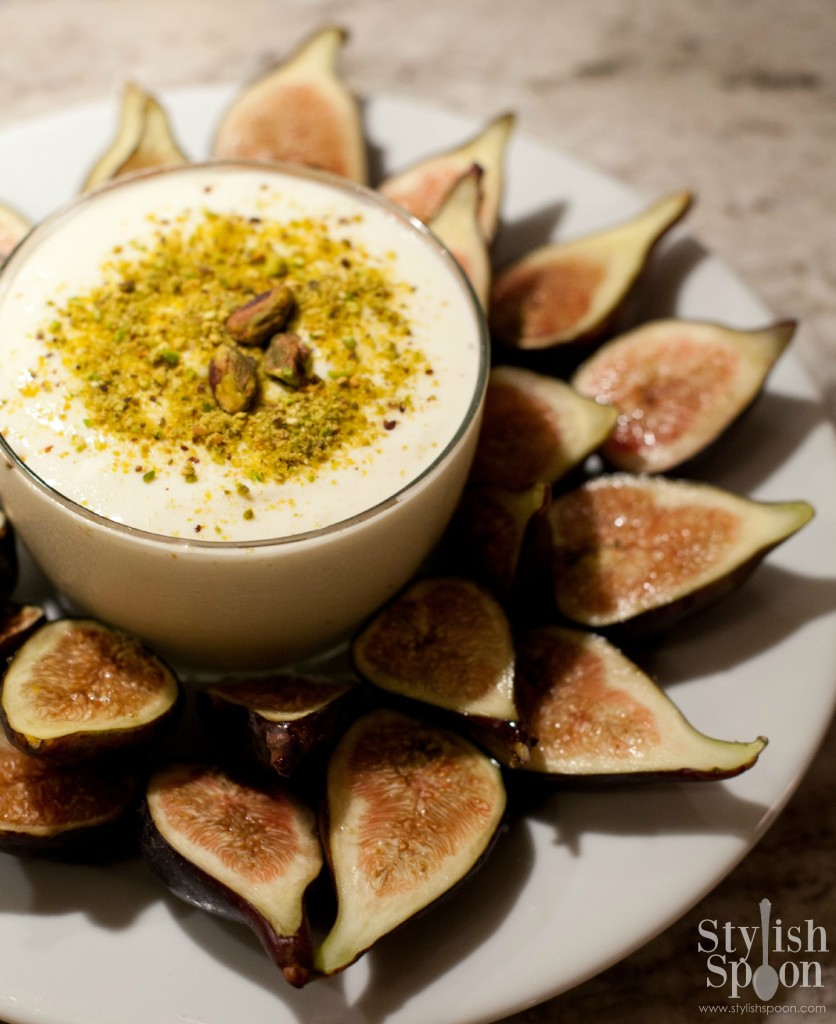 Ricotta-pistachio dip with fresh figs and honey recipe | Stylish Spoon