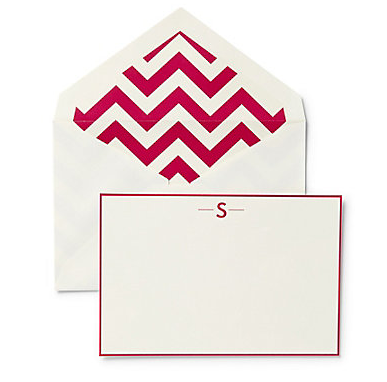 Monogram Notecards with Chevron Envelope Liner from C Wonder - Stylish Spoon's 2013 Holiday Gift Guide | www.StylishSpoon.com