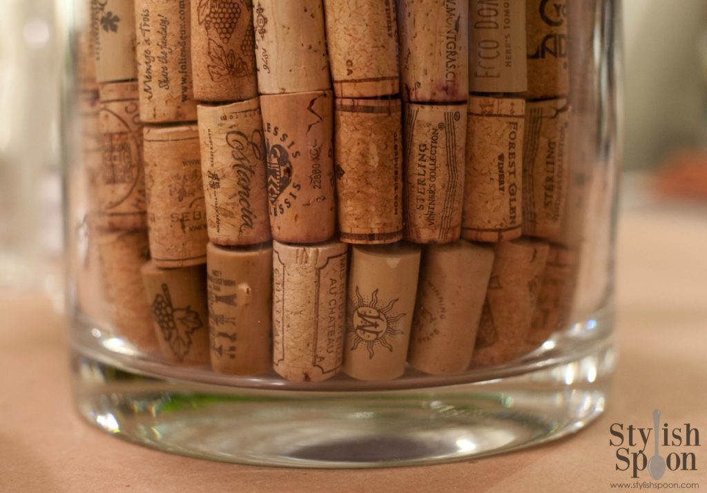 DIY Wine Cork Vase Filler How-To | www.StylishSpoon.com