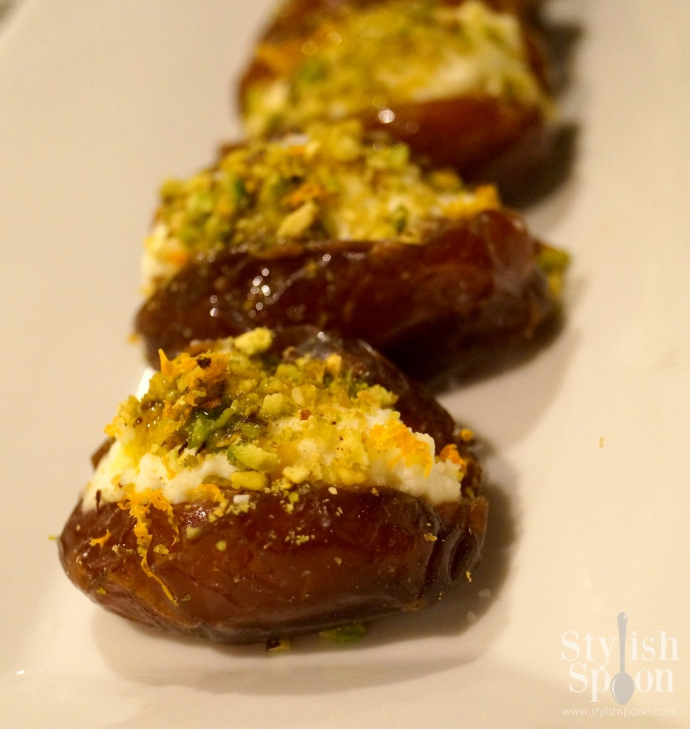 Ricotta and Pistachio Stuffed Dates with Orange