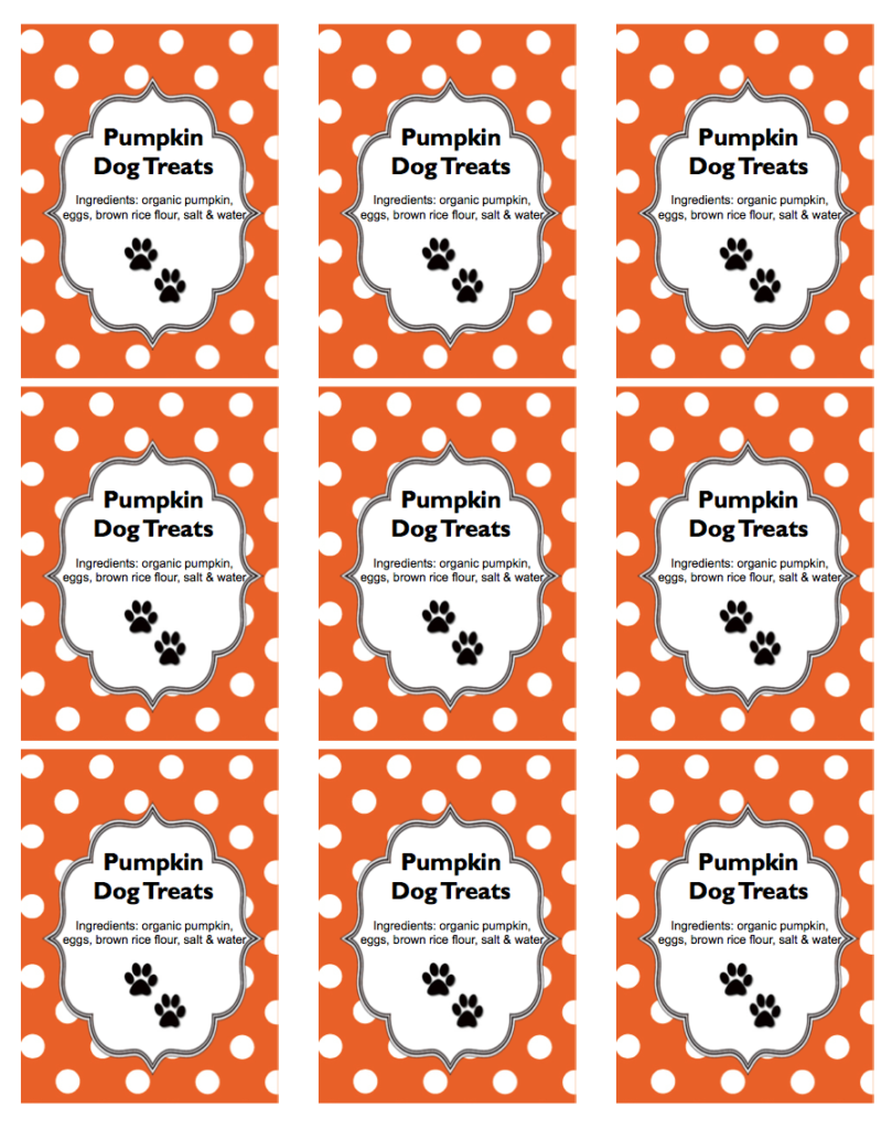 Pumpkin Dog Treats Free Printable Template Avery 22809 | www.StylishSpoon.com
