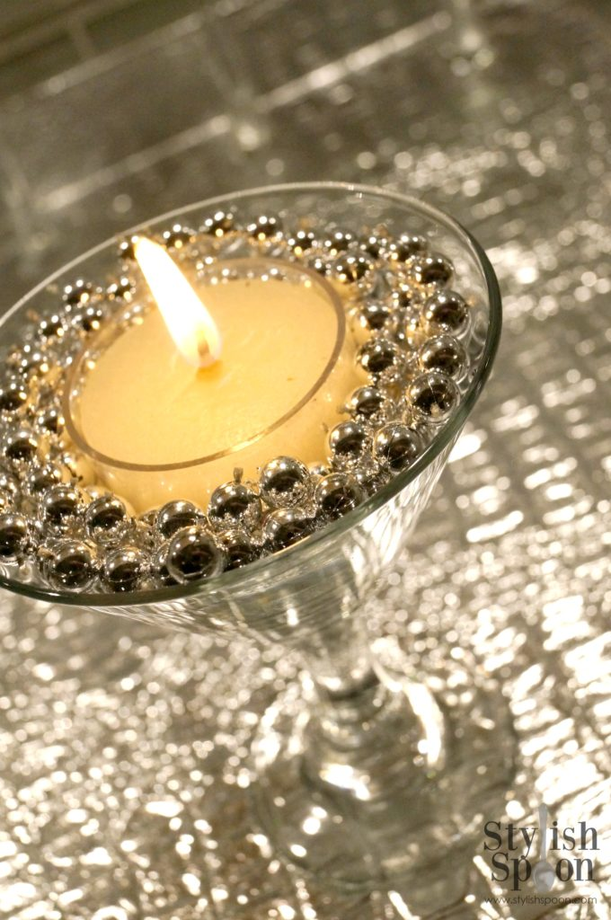 diy silver bead martini glass candle holders stylish spoon. Black Bedroom Furniture Sets. Home Design Ideas