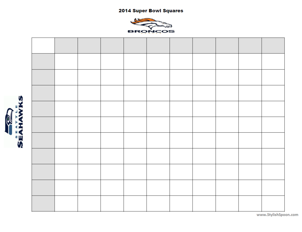 2014 Printable Super Bown Betting Squares Broncos Seahawks | StylishSpoon.com