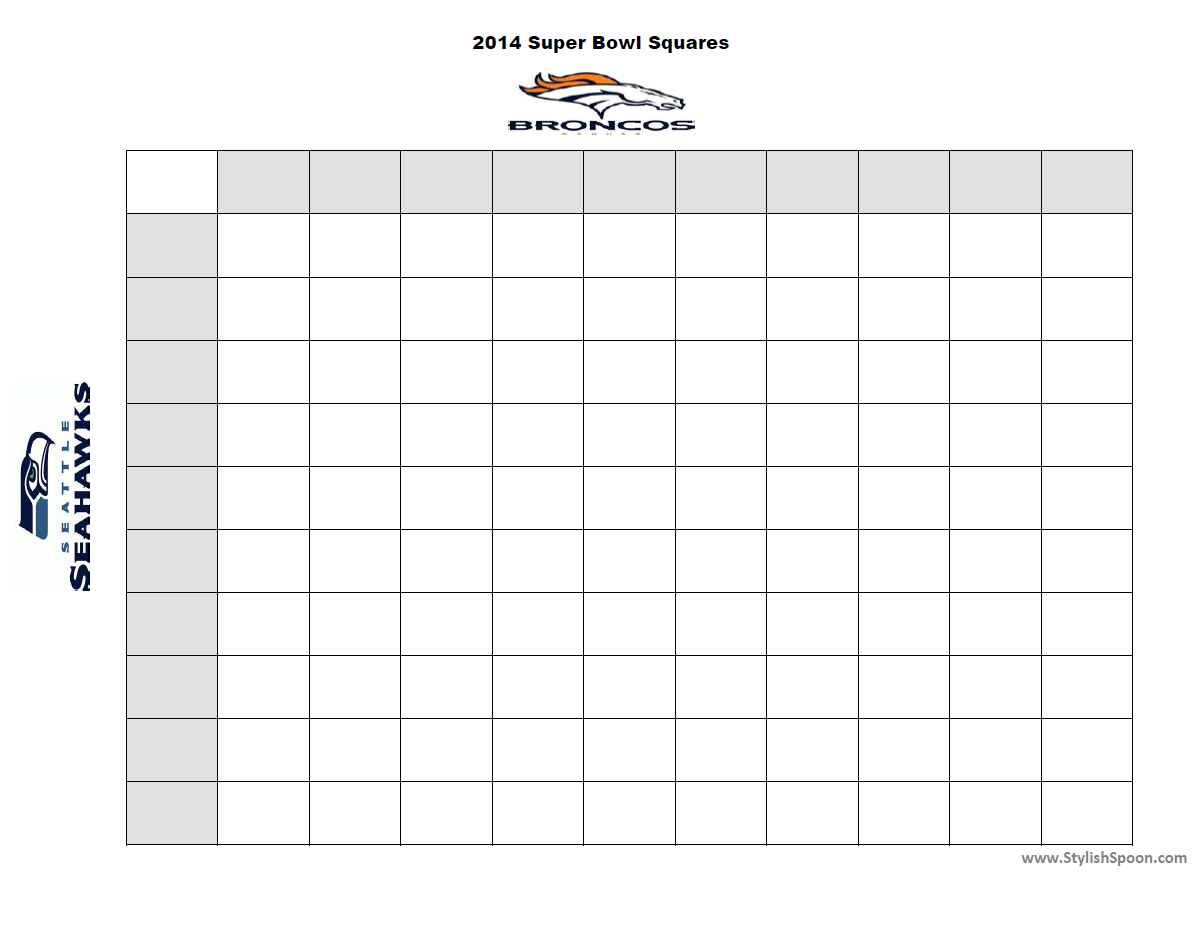 Printable super bowl squares new calendar template site for Free super bowl pool templates