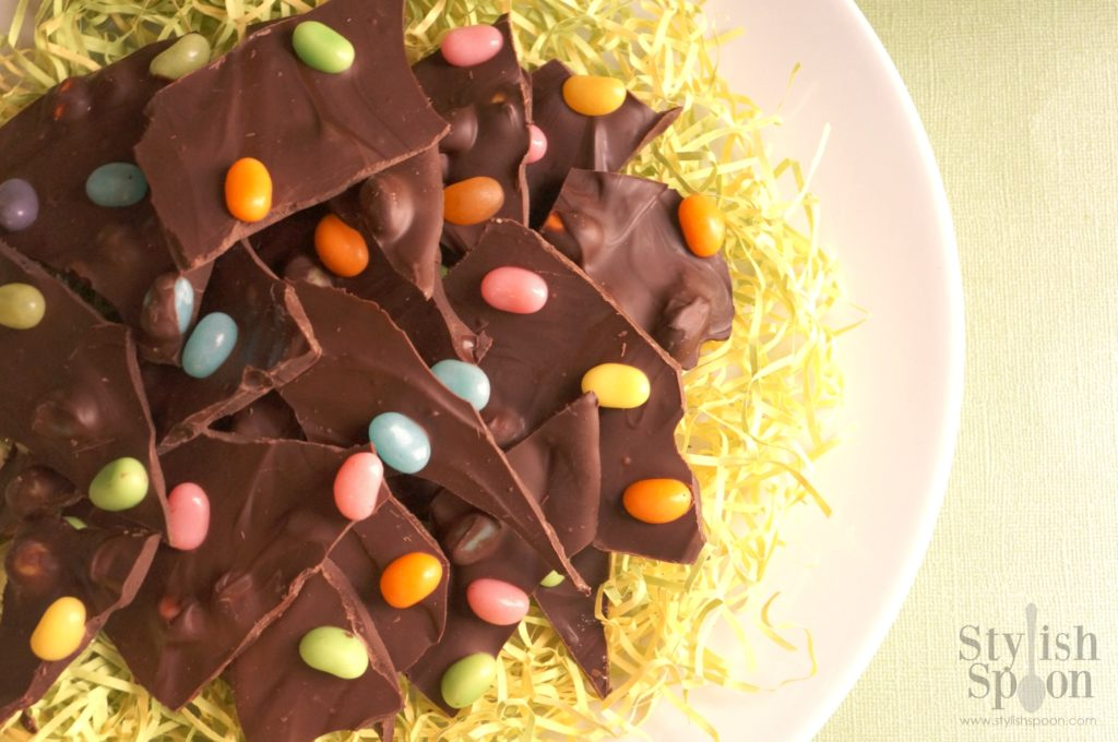 Dark Chocolate Jellybean Bark for Easter | stylishspoon.com