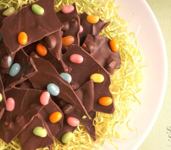 Dark Chocolate Jellybean Bark for Easter | stylishspoon.com
