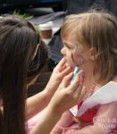 pink princess birthday party face painting butterfly