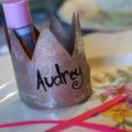 Pink princess birthday party table setting afternoon tea crown place card favors