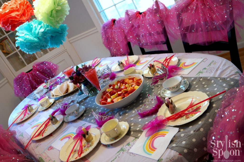pink princess party table tutus tissue balls wands tea party