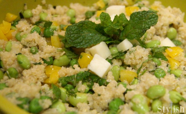 <em> Recipe </em> :: Spring Quinoa Salad with Peas, Mint &#038; Pecorino