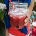 red and blue sangria in ball jar