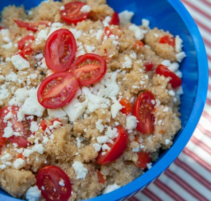 red and white quinoa salad 4th of july recipe cookout side dish