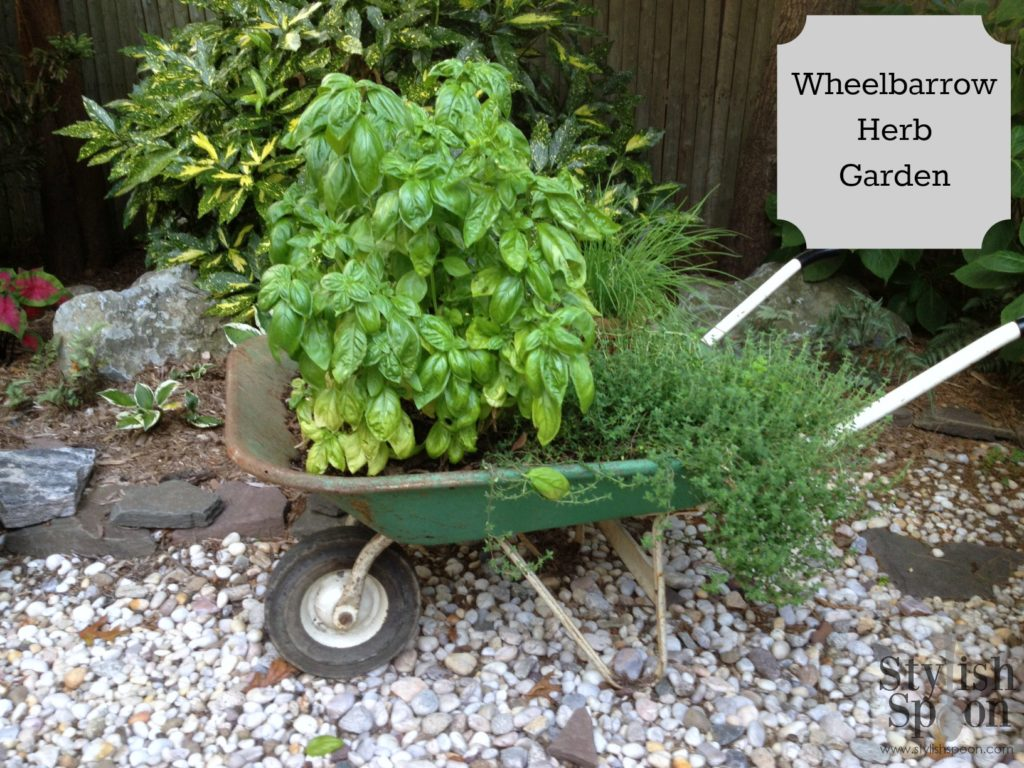 Reclaimed Wheelbarrow Herb Garden | stylishspoon.com