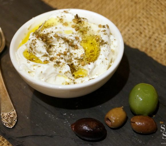 Labneh Middle Eastern Strained Yogurt with Za'atar Mezze Plate | stylishspoon.com