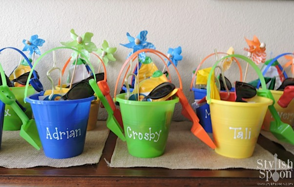 pool party beach bucket favors personalized