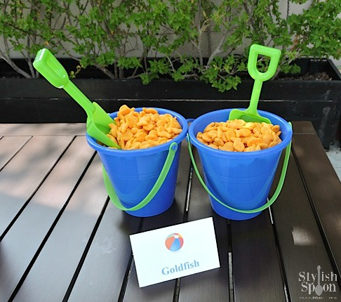 pool party beach theme goldfish snacks menu bucket and shovel serving bowls