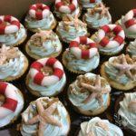 pool party sand dollar beach theme cupcakes