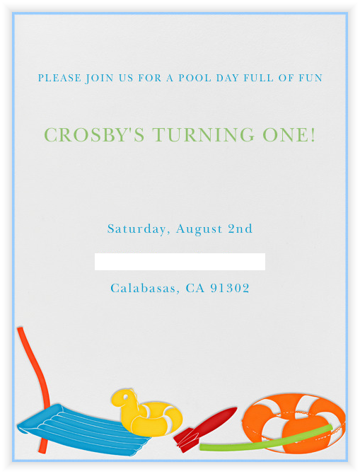 Pool Toy Invitations from paperless post 1st birthday party