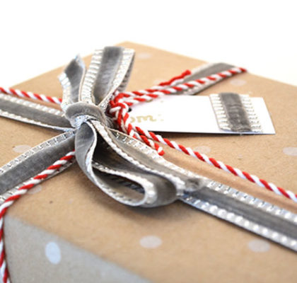 Gift wrapping idea mixed material ribbons christmas holidays