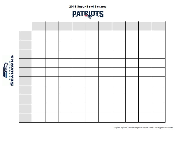 Free Printable 2015 Super Bowl Betting Squares Game — Stylish Spoon