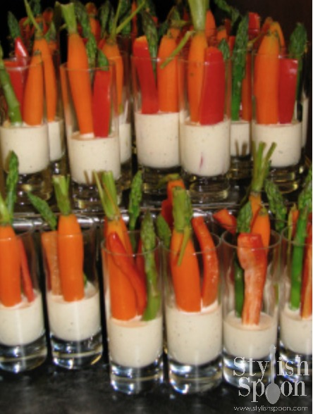 veggies and dip in shot glass