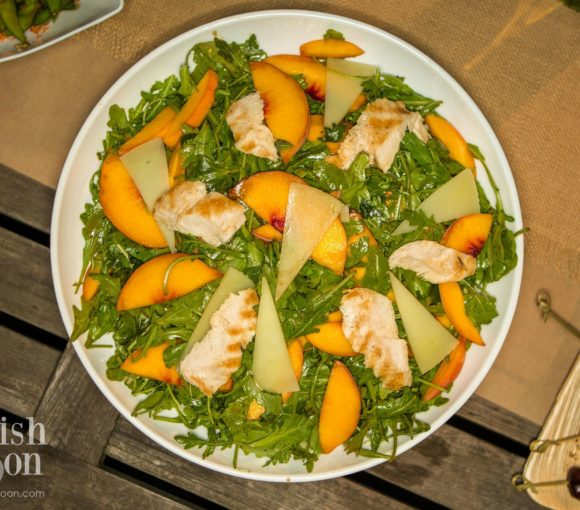 Ladies Night Arugula, Grilled chicken Peach Salad