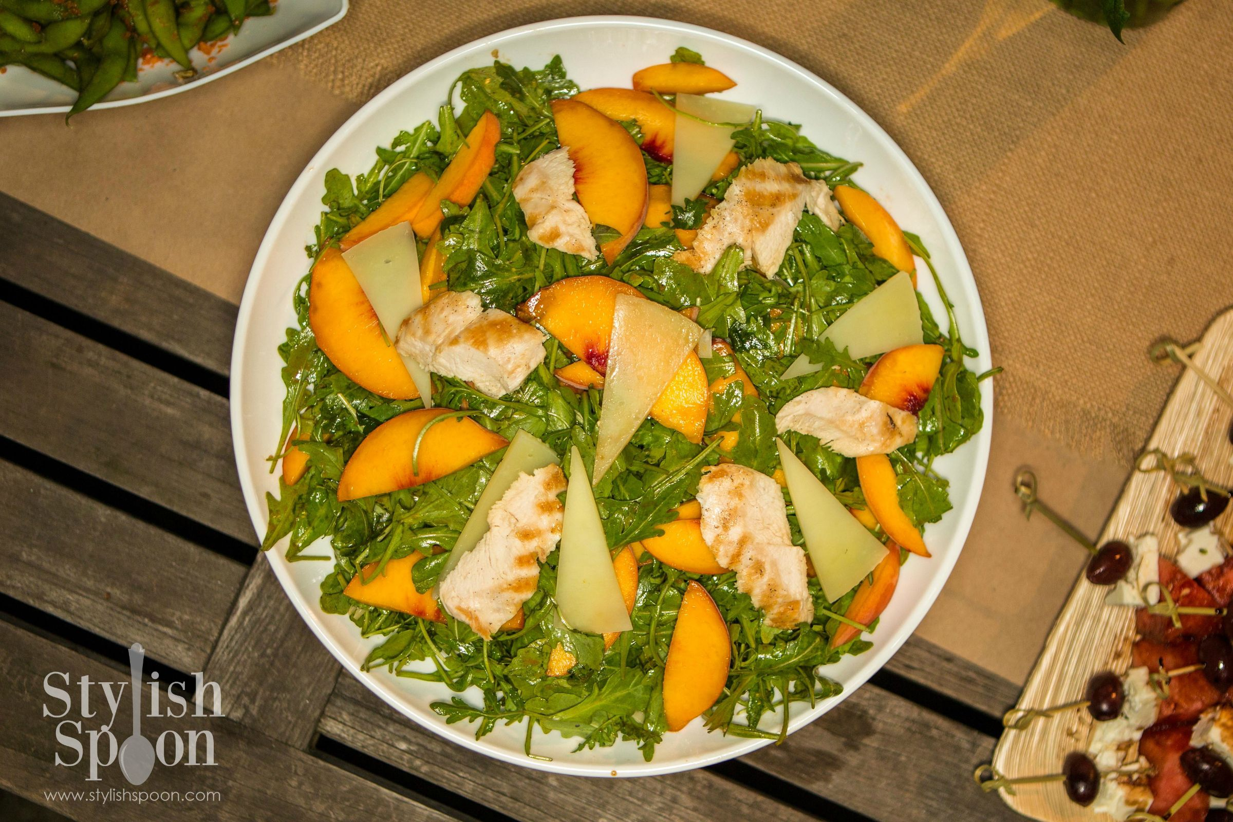 Arugula & Peach Salad with Grilled Chicken & Balsamic Vinaigrette