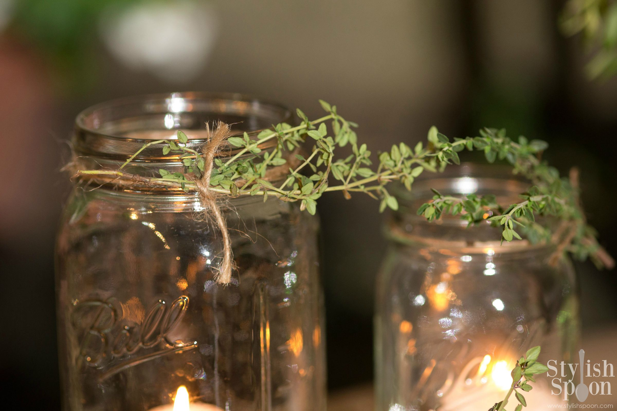 Fresh thyme sprigs were tied around the rims with natural color twine