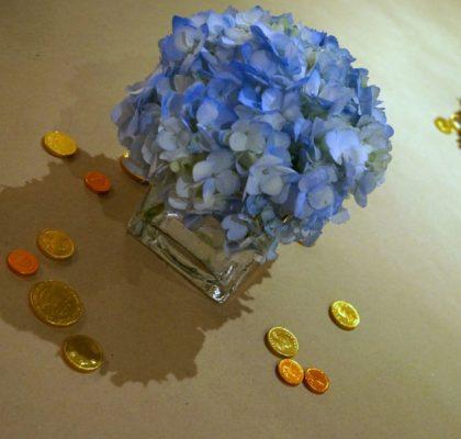 Hanukkah Centerpiece Blue Hydrangeas and Gelt