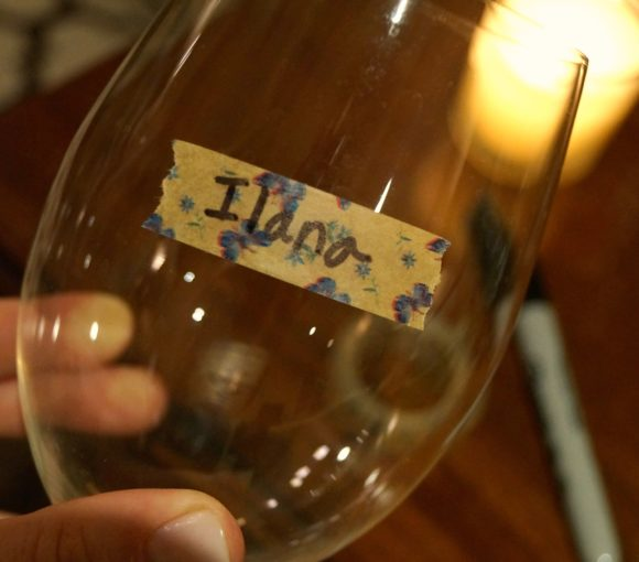washi tape wine glass marker