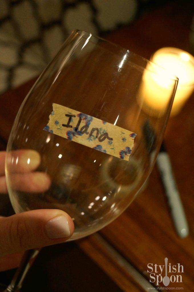 washi tape wine glass marker