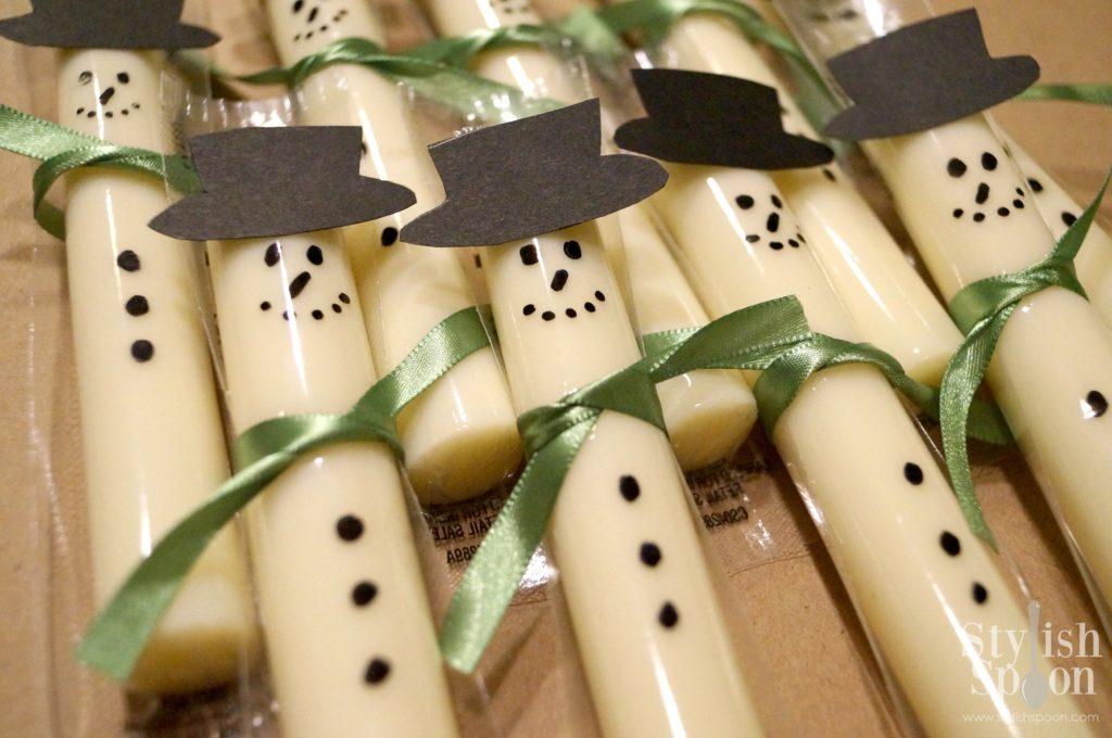 snowman cheese sticks
