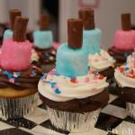 nail polish cupcakes on tray choc and van