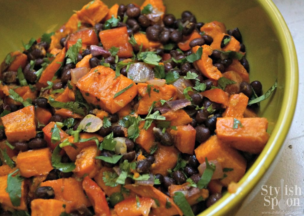 healthy vegan Mexican recipe - sweet potato and black bean salad