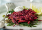 Beet Pancakes with Creamy Yogurt-Dill Sauce