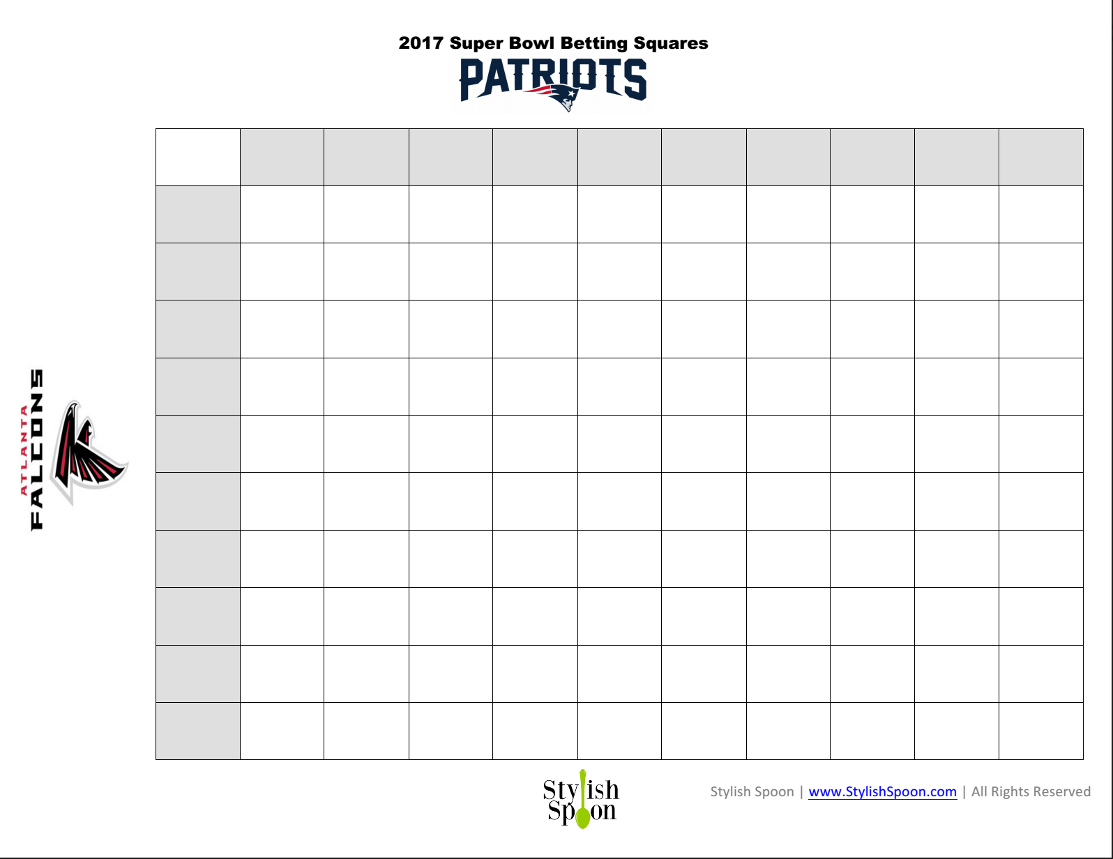 Free Printable 2017 Super Bowl Betting Squares - Stylish Spoon