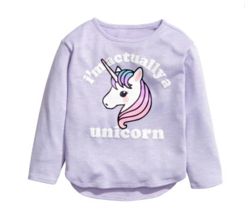 H&M is on point for all things trendy at a great price. Loving these I'm Actually a Unicorn sweatshirts that I got for the girls.