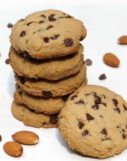 paleo choc chip cookies with almonds