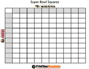 photograph relating to Printable Super Bowl Pools named Betting Squares Pool tremendous bowl bash recreation - Elegant Spoon
