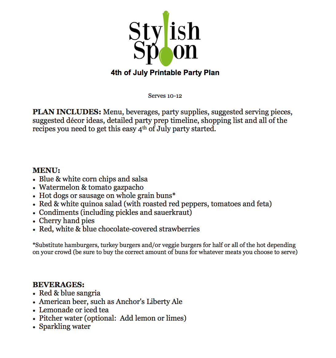 Printable Party Plan :: Easy 4th Of July Menu, Recipes