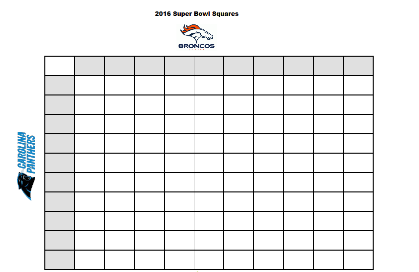 free printable    2016 superbowl betting squares